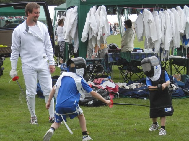 Ben Corbridge with our youngest sword masters, New Milton Pageant of Sport