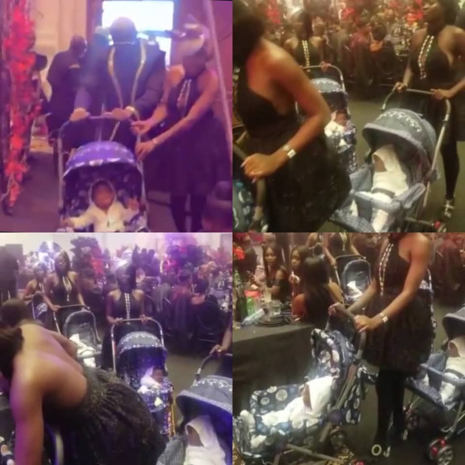 Socialite, PrettyMike, storms Toyin Lawani's wedding with a number of ladies each pushing a baby in a stroller (video)