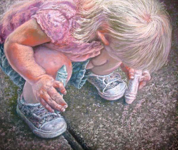 """Sidewalk Artist"" by artist Linda Wilmes."