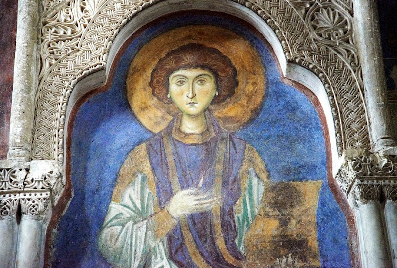 16. St. Panteleimon. Byzantine fresco. XII Century. The Church of St. Panteleimon in Gorno Nerezi