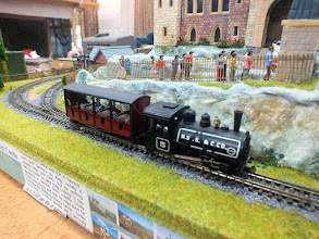 """Photo: 024 A """"typical"""" generic 009 train in the form of a Minitrains 0-4-0ST Baldwin hauling one of the 009 Society kits for an open Hudson coach on Alan Hamer's Castle Line ."""