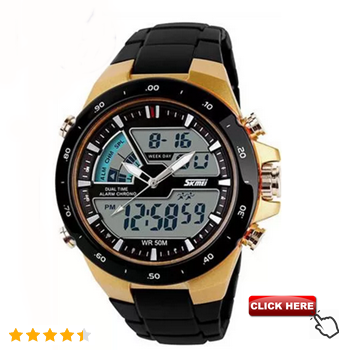 Men Dual Display Waterproof Multi-function LED Sports Watch - Gold    width=