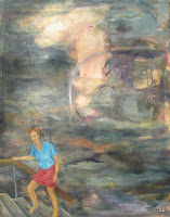 'Climbing up from the lost space', oil on canvas, 23,6x 29,5 inches, 1996