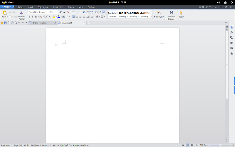 Tampilan WPS Office Writer