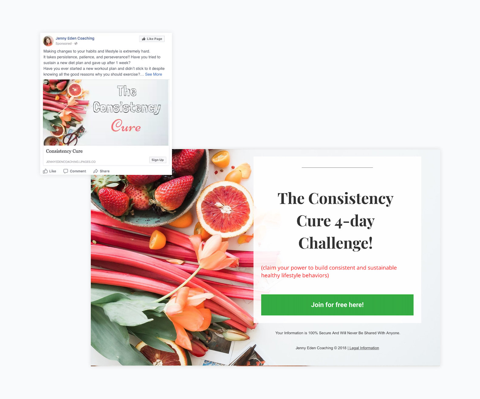 consistent facebook ad and landing page