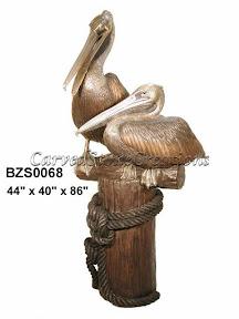 Bronze, Pair, Pelicans, Statue