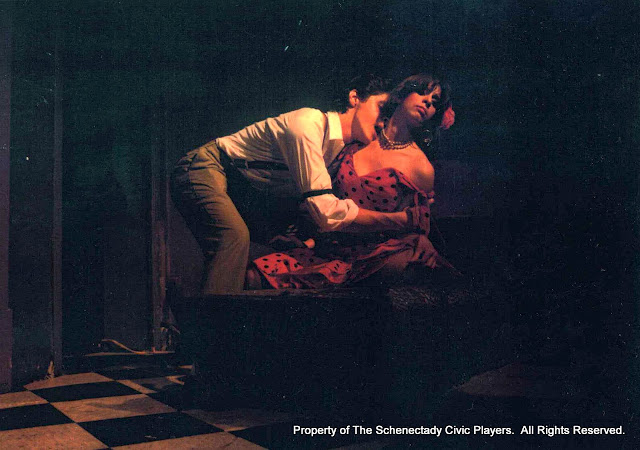 Bill Martuscello and Cindy Paris in SUMMER AND SMOKE - July/August 1985.  Property of The Schenectady Civic Players Theater Archive.
