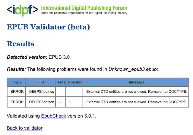 EPUB ValidatorではNCXにエラーあり