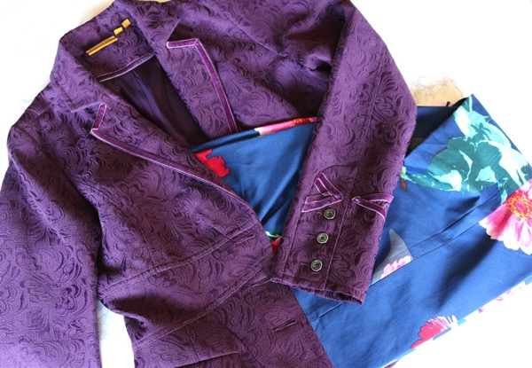 Floral Pants and Purple Jacket