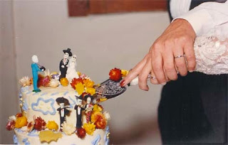 Day of the Dead themed wedding cake