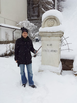 Endlich einmal Schneefall beim EarthcachePasso del Brennero - Der Brennerpass (GC32HKP)