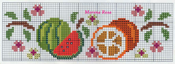 Tre schemi punto croce per asciugamani con frutta
