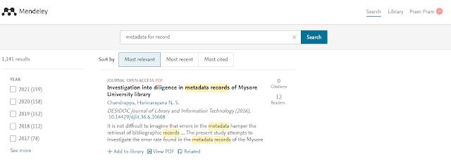 Pencarian Jurnal Mendeley