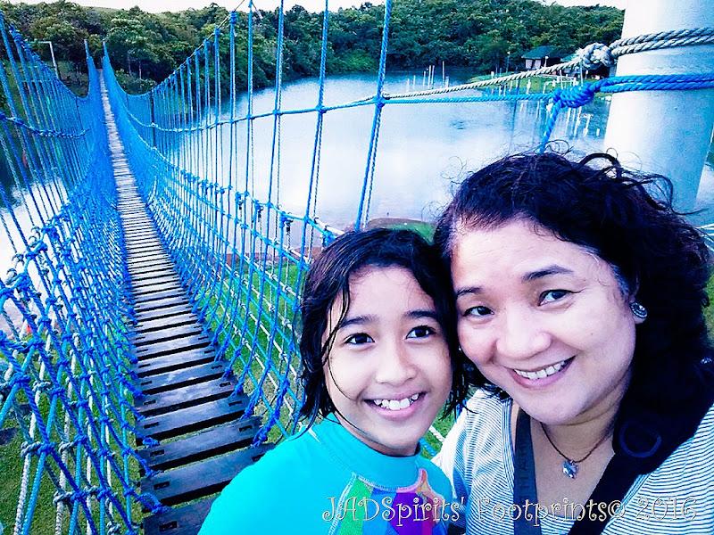Daniz and I before we cross the hanging bridge at Caliraya Mountain Lake Resort