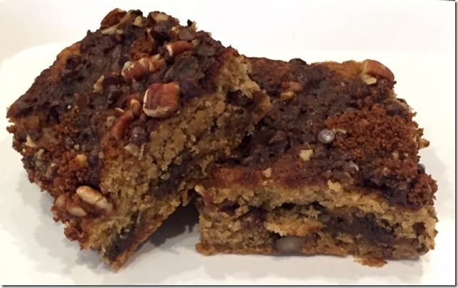Gluten Free Refined Sugar Free Banana Cinnamon Chocolate Chip Coffee Cake, vegan