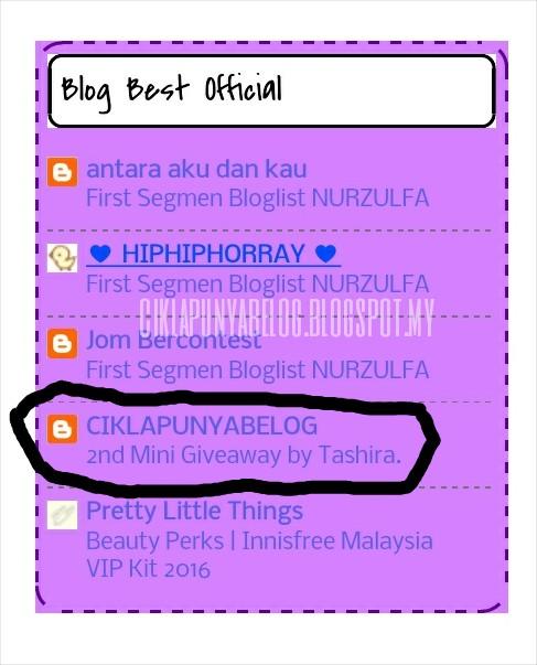Menang segmen : Menang Segmen Blogwalking | Cik Nurul; Blog Best Official.