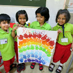 Rainbow Hand Printing and Ranibow Necklace Activity (Sr.KG.) 27-4-2016