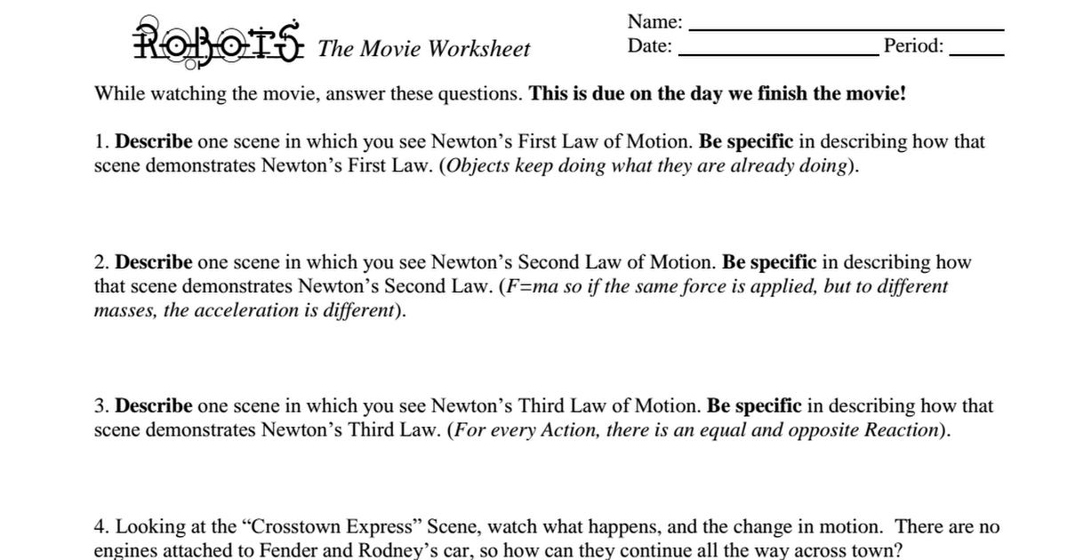 Robots The Movie Worksheetpdf Google Drive – F Ma Worksheet