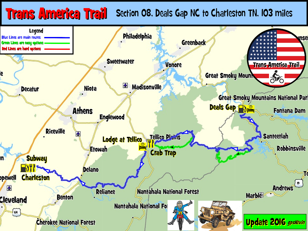 TAT Section 08 Deals Gap NC to Charleston TN gpsKevin Adventure