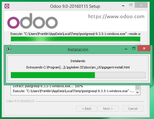 Instalando motor de base de datos de Odoo 9