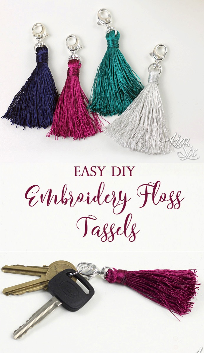 Easy Embroidery Floss Tassels.  A single skein of embroidery thread is all it takes to make these cute tassels. Perfect for keychains, zipper pulls, home decor or even cell phone dangers.  SUPER EASY TO MAKE
