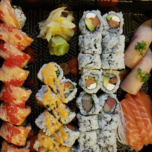 Red Eye roll (specialty) on the left, plus Maki, sashimi, nigiri.