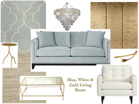 Park Interiors White Blue And Gold Living Room