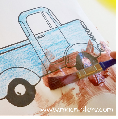 Little Blue Truck Mud Painting