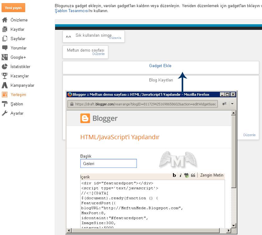 Blog kayıtları uzerine Gadget HTML Javascript