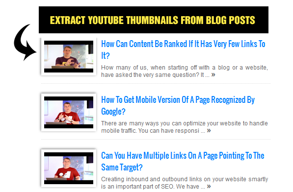 Extract YouTube Thumbnails from Blog posts