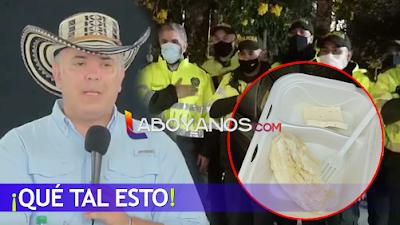 """""""Yuca con queso"""" habrían recibido de almuerzo policías que cuidaron a Duque en La Mojana"""
