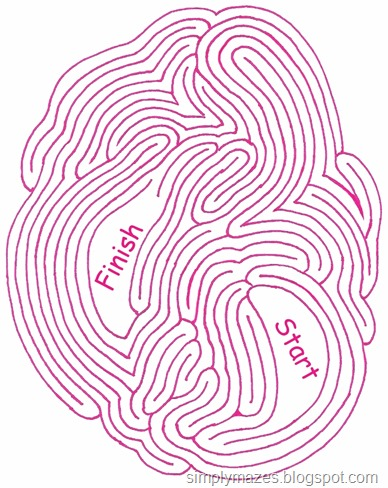 Maze Number 111: Beating Heart. A printable pink maze.