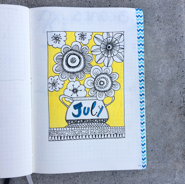 #100DaysOfDoodles | Day 52 | Hello July | The 100 Day Project 2017