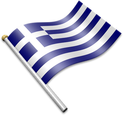The Greek flag on a flagpole clipart image
