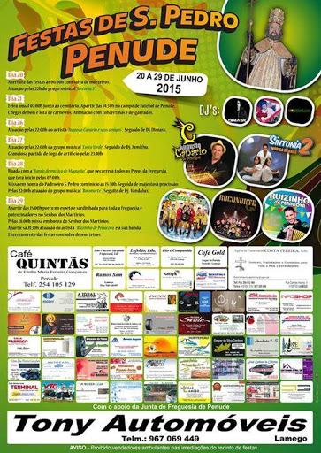 Programa das Festas de S. Pedro - Penude - Lamego - 2015