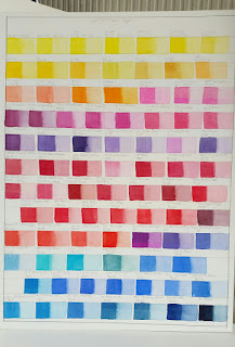 ©2018 Polly o'Leary - The main watercolour swatches - some showing changes
