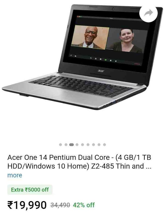 Acer One 14 Platinum Dual Core (4/1TB /Window 10 Only 19990 on Flipkart