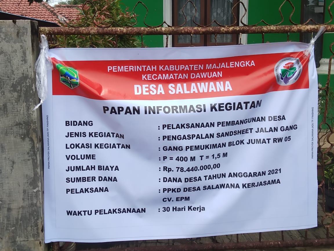 Warga puji, Pelaksanaan DD Pihak Desa Salawana Terbuka dalam Pengelolaan Anggaran