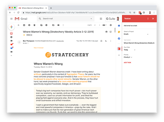 Todoist for Gmail - G Suite Marketplace