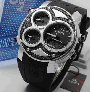 jam tangan Alfa original 047 black rubber ring silver