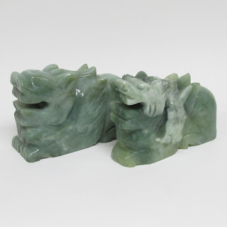 Green Stone Carved Winged Animal Pair