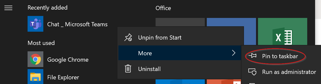 Pin to taskbar option