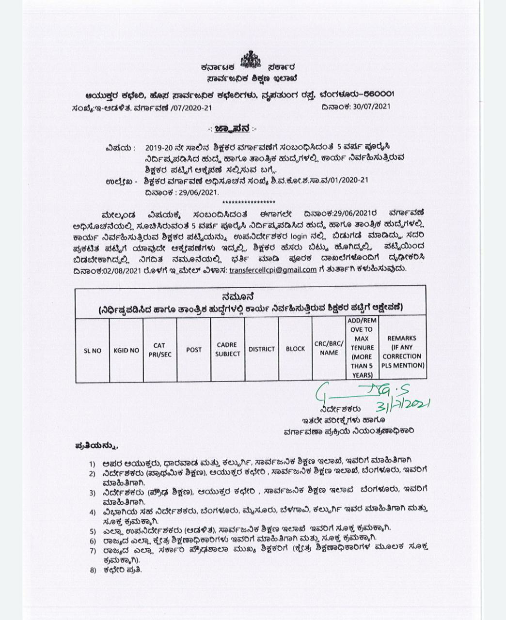 Obtaining Objection to the List of Teachers Operating for the Post and Technical Post of 5 Years on Transfer of Teachers for the Year 2019-20