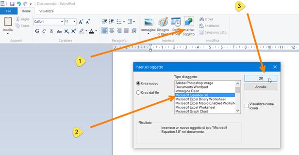 inserisci-oggetto-wordpad
