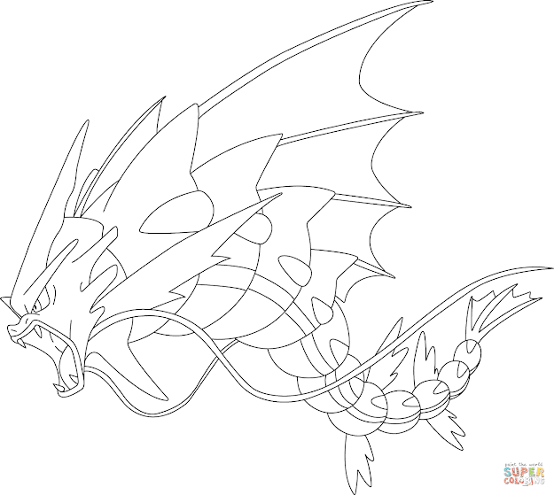 Click The Mega Gyarados Pokemon Coloring Pages To View Printable Version Or  Color It Online Patible With Ipad And Android Tablets