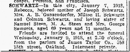Rebecca Steen death notice Oakland Tribune 1_8_1918