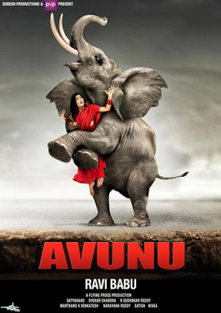 Poster Of Avunu In Dual Audio Hindi Telugu 300MB Compressed Small Size Pc Movie Free Download Only At worldfree4u.com