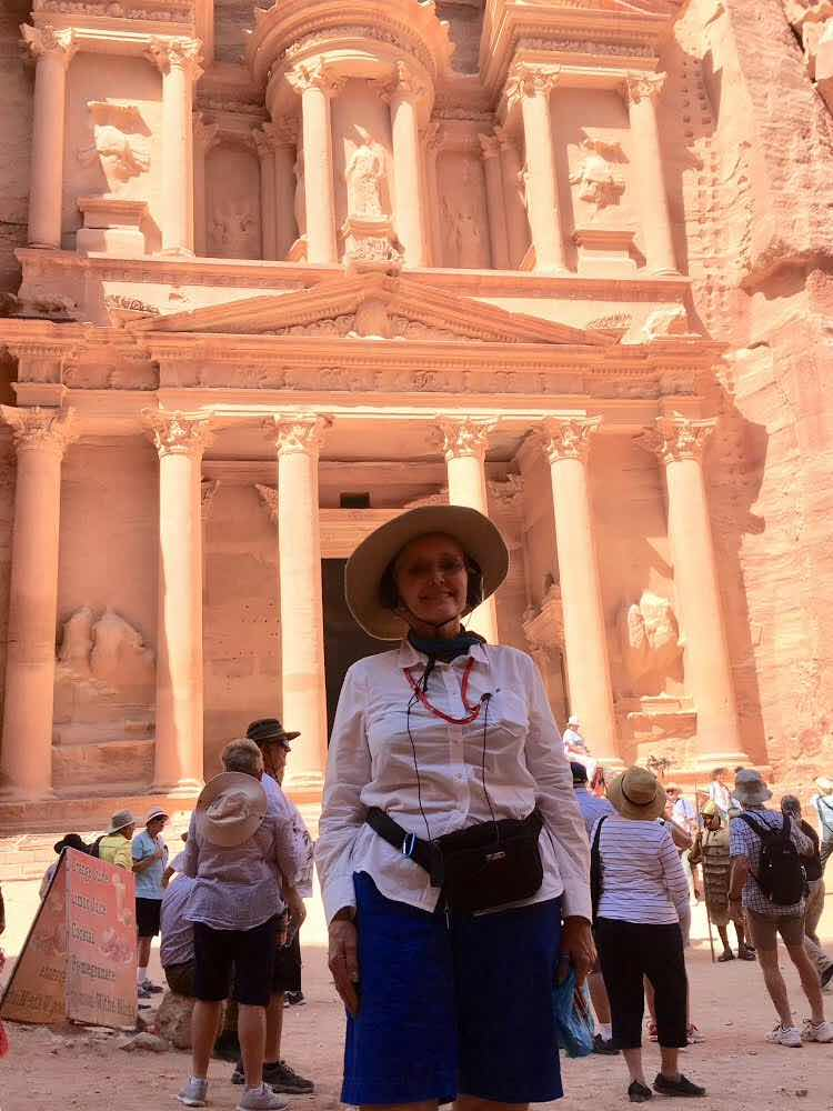 Resident Astronomer Peggy in front of the Treasury at Petra