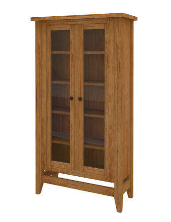 Venice Glass Door Bookshelf in Como Maple