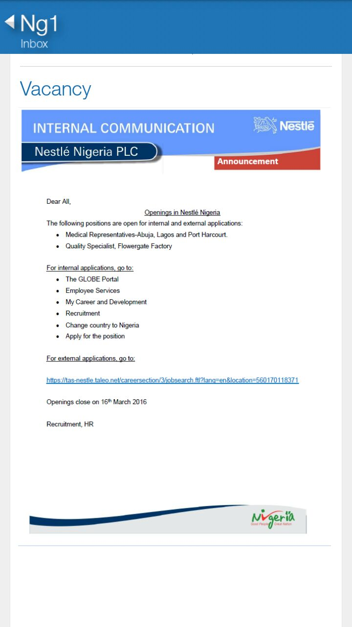 Job Opening at Nestle   I. C. T SOLUTIONS,LATEST FREE BROWSING ON ...